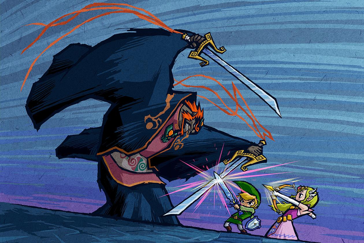 """Die """"Zelda""""-Reihe Der spitzohrige Protagonist Link ist bei Gamern ähnlich bekannt wie Hüpfspiel-Legende Mario und ebenso wie der springfidele Klempner ein Paradebeispiel dafür, wie Nintendo seine Serien immer wieder neu erfindet, ohne dabei ihre Wurzeln zu verleugnen: Seit seinem ersten Auftritt 1986 auf der 8-Bit-Konsole NES verdrischt der kleine Elf in der Fantasy-Welt Hyrule mit seinem seinem """"Meister""""-Schwert dieselben Monster, sammelt Rubine, Schlüssel und Herz-Container, sucht die Macht des magischen Triforce und legt sich mit Oberbösewicht Ganon beziehungsweise Ganondorf an. Dazu spielen noch immer einige derselben Melodien auf, die Links erstes Abenteuer vor 29 Jahren musikalisch begleitet haben. Die größten Wendepunkte der Reihe waren das 1991 erschienene """"A Link to the Past"""", mit dem Nintendo das moderne Action-Adventure erfand, sowie """"Ocarina of Time"""" für das N64 von 1998, mit dem man das noch heutige gängige gängige Regelwerk für 3D-Adventures absteckte."""