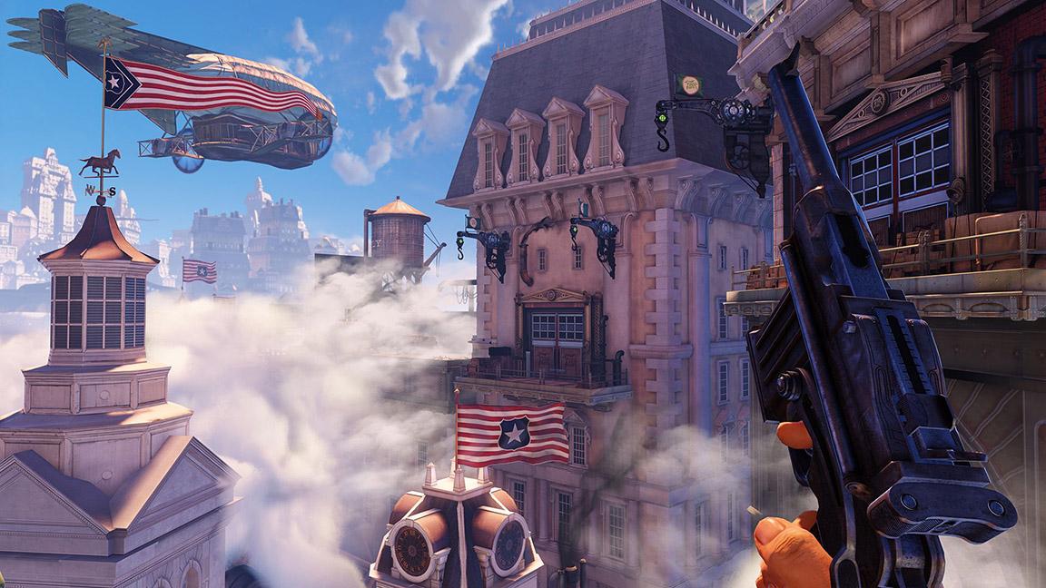 Erstaunen: Booker DeWitt staunt nicht schlecht, als er die Wolkenstadt zum ersten Mal erblickt. (Bioshock Infinite) Quelle: PC-Screenshot