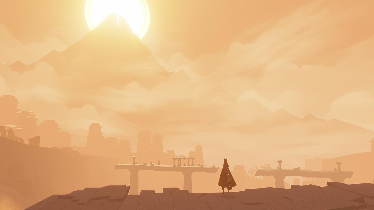 Freude: Allein diese Aussicht lässt das Herz eines jeden Grafik-Fetischisten höherschlagen. (Journey) PS3-Version, Quelle: Gamespress / Sony