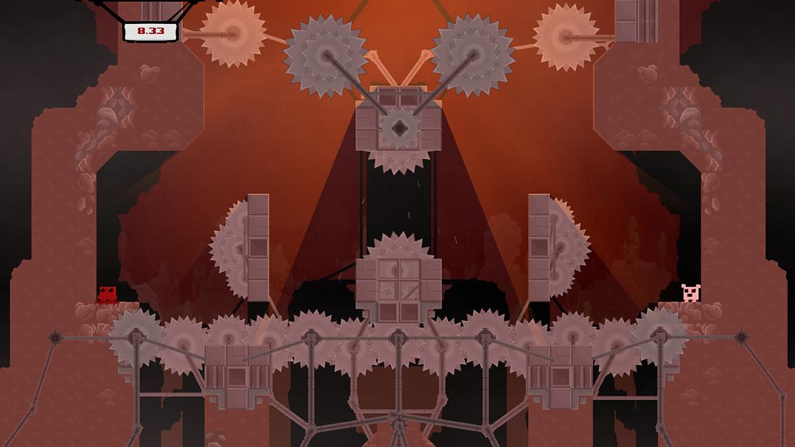 """Wut: In der """"normalen"""" Welt sind es vielleicht halb so viele Kreissägen. (Super Meat Boy) (PC-Screenshot)"""