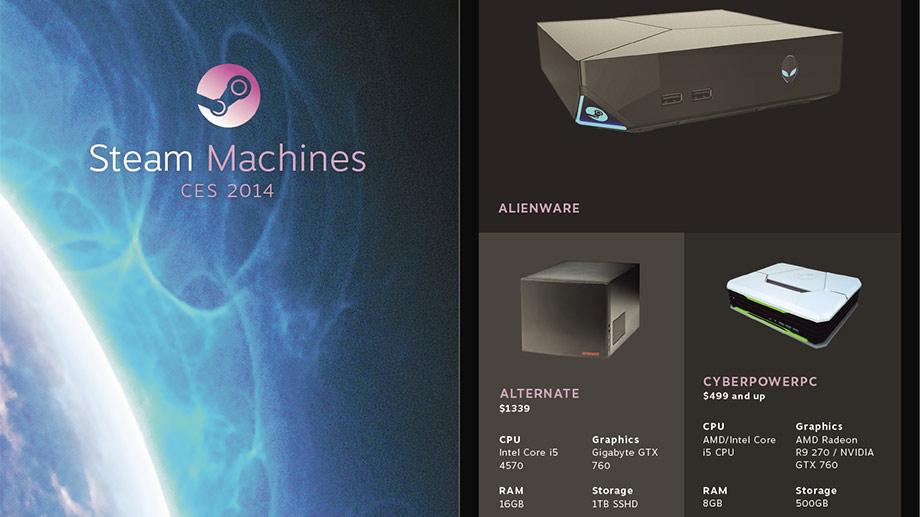 Valve selber produziert keine eigenen Steam-Machine-Geräte. Im Januar 2014 enthüllte das Unternehmen dafür 14 Hardware-Partner, die eine Vielzahl verschiedener Modelle ankündigten, die sich in Preis, Ausstattung und Form erheblich unterscheiden.