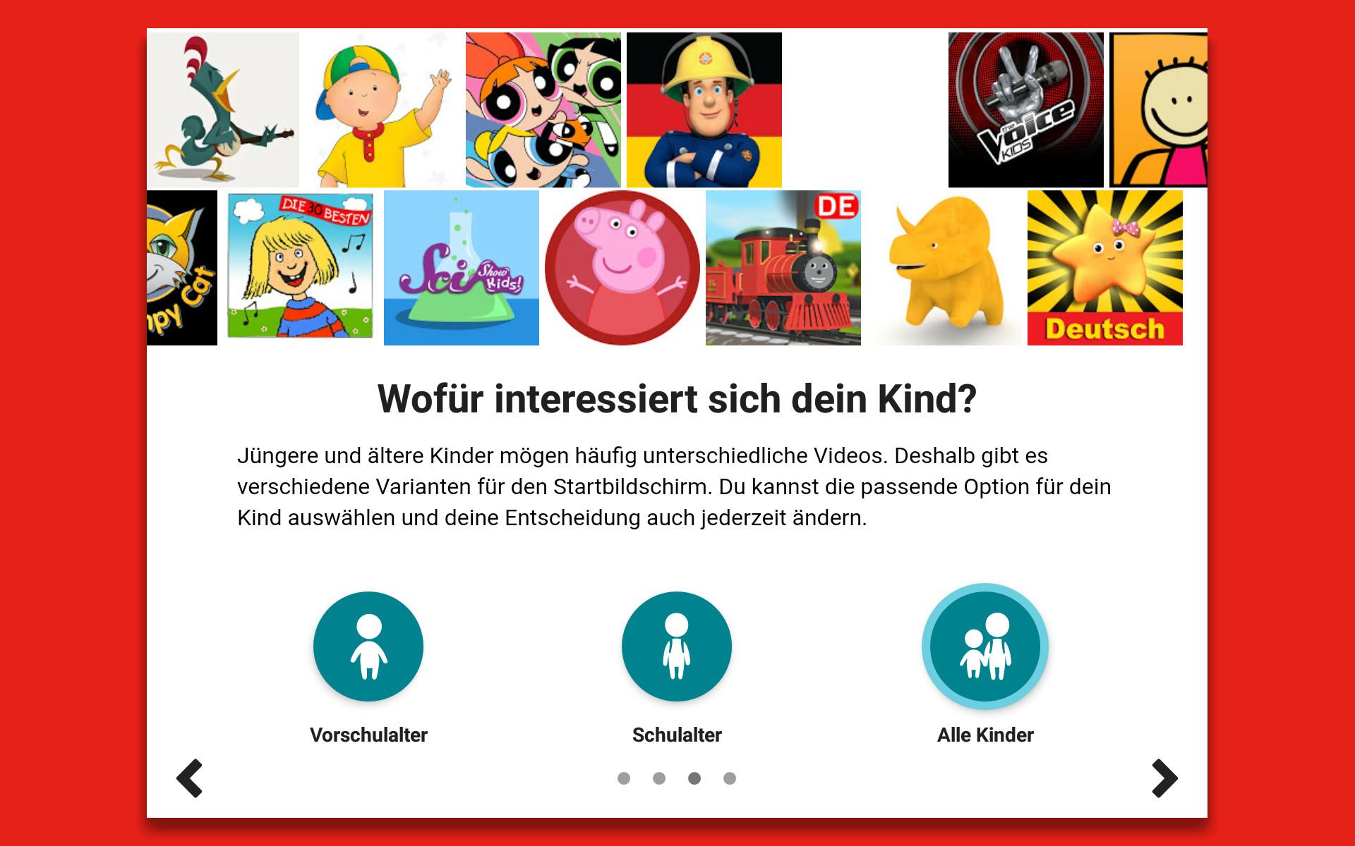 Beim Erststart der App legt man fest, für welche Altersklasse die auf dem Startbildschirm präsentierten Inhalte geeignet sein sollen.