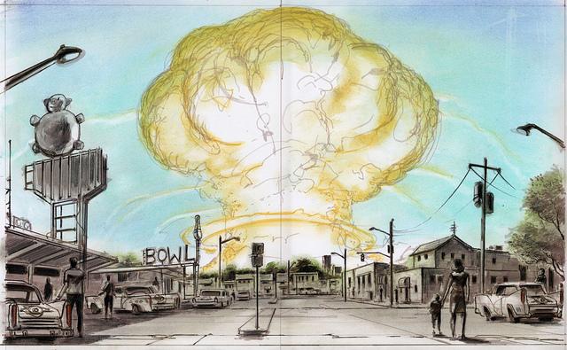 """Einer derjenigen, dem wir es verdanken, dass """"Fallout"""" heute so illuster und farbenfroh ausschaut, ist der Konzeptzeichner Adam Adamowicz. Er hat unzählige Waffen, Gegenstände und viele fantastische Orte wie Rivet City entworfen oder auch den Prolog von Fallout 4 mitgestaltet. Im Jahre 2012 verstarb er leider an einer Krebserkrankung."""